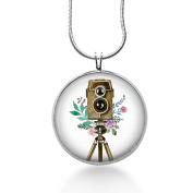 Retro Camera Pendant Necklace - Vintage Jewellery - Watercolours, Photos