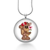 Squirrel Love Necklace - Valentines Day Jewellery - Woodland - Handmade - Round Art Pendant