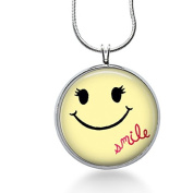 Smile Necklace, Smiley Face Pendant, Smiling Face Jewellery, Happy, Round Pendant