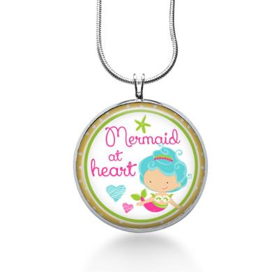 Mermaid At Heart Pendant, Ocean Charm Necklace, Mermaid Necklace