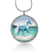 Horse Necklace/ Blue Horse on Beach/pony Pendant/beach Necklace/wild Horse Pendant