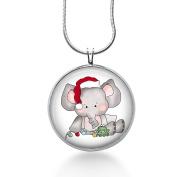 Elephant Christmas Necklace, Christmas Jewellery, Santa Hat, Animal Jewellery