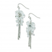 Silver-tone Clear Crystal Bead Cluster Drop Earrings