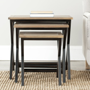 Safavieh American Home Collection Farnham Walnut and Black Stacking Tray Tables