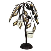 Essential Décor Entrada Collection Leaf Patterned Metal Candle Holder, 14.25 by 24cm by 24cm