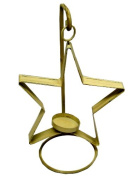 Craft Outlet Hanged Tin Star Candle Holder with Wire, 15cm , Off-White