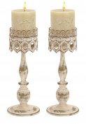 Deco 79 68715 Metal Candleholder Pair