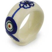 Ceramika Bona H0671H Polish Pottery Ceramic Napkin Ring Hand Painted, 5.1cm