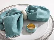 SARO LIFESTYLE 4-Piece Dome Design Napkin Ring Set, Green