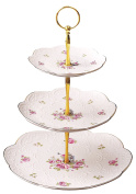 Jusalpha Elegant Embossed Bone China 2-tier Cake Stand/ Cupcake Stand/ Tea Party Pastry Serving platter in Gift Box (FL-Stand 03)