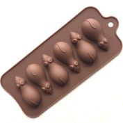 Always Your Chef 6-Cavity Silicone Little Mice Chocolate Candy Making Moulds, Baking Cups for Jello, Gummy, Candle, Handmade Soap and More, Random Colours