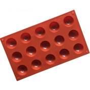 Always Your Chef 15-Cavity Silicone Small Dome Chocolate Candy Making Moulds, Mini Baking Cups for Cupcake, Jello, Handmade Soap Mould, Ice Cube Trays and More, Random Colours