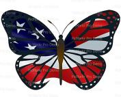 1/2 Sheet - American Flag Butterfly - Edible Cake/Cupcake Party Topper!!!
