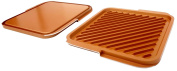 Gotham Steel Ceramic and Titanium Nonstick Double Grill, Brown