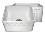 Whitehaus WHFLATN2018 50cm Reversible Series Fireclay Sink with an Athinahaus Front Apron One Side and Fluted Front Apron on Opposite Side