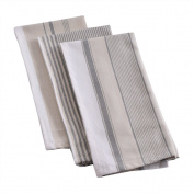Mahogany Vintage Stripe Kitchen Towels, 100Percent Cotton, Set of 3, Each 46cm by 70cm - black