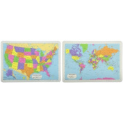 Painless Learning Map of USA Placemat & Painless Learning World Map Placemat
