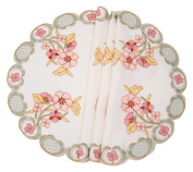 Manor Luxe ML16132 Primrose Embroidered Cutwork Round Placemats, 41cm Round, Set of 4