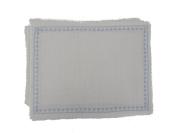 Gitika Goyal Home Cotton Khadi Silver Hand Block Printed Flower Border Design Mat (Set of 4), 33cm by 43cm , Cream