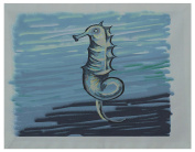 E By Design PT4OGH14Seahorse_Greys Polyester Decorative Placement, 46cm by 36cm , Seahorse