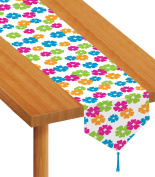 Beistle Printed Hibiscus Table Runner, 3.4m by 1.8m, Multicolor