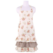 Neoviva Floral Cotton Canvas Garden Apron for Women with Pocket and Ruffles, Nitong Roses White