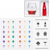 Wine Glass Marker Sticker Charms for Wine Tastings and Wine Parties