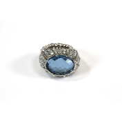 Blue Moon Beads ZJ-002-00061 Jewellery Rhinestone Dome Ring, Silver/Blue