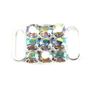 Mode Beads Rhinestone Buckle, 2.2cm , Crystal/AB Silver
