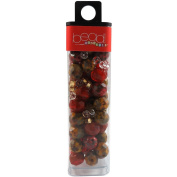 Mode International Square Tube Glass Beads, 60ml, Round Orange Mix