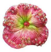 6 pieces of 5.1cm - 1.3cm velvet hydrangea, irridencent sequins and seed beads embellished, colour fuchsia.