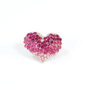 Blue Moon Beads ZJ-002-00047 Jewellery Rhinestone Heart Ring, Pink