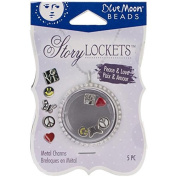 Blue Moon Beads Story Lockets Metal Charm, Peace/Love, Assortment, 5-Pack