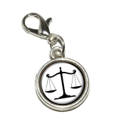 Graphics and More Balanced Scales of Justice Symbol Legal Lawyer B & W Antiqued Bracelet Pendant Zipper Pull Charm with Lobster Clasp