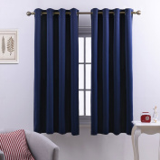 Thermal Insulated Eyelet Blackout Curtains - PONY DANCE (W 130cm by D 160cm per Panel, Navy Blue, 2 Pieces) Thermal Insulated Room Darkening Home Fashion for Girls' Room
