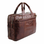 Jsix Mens Genuine Leather Handbags Briefcases Laptop Shoulder Bag Brown