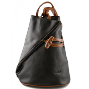 Made In Italy Leather Backpack For Women With Zipped Straps Colour Black Cognac Tuscan Leather - Backpack