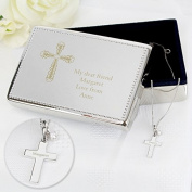 Engraved Cross Gift Set of Rectangular Jewellery Box & Silver Pendant - stunning gift for a Christening, Baptism, First Holy Communion or Confirmation