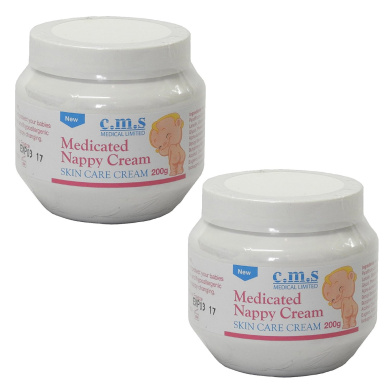 Twin Pack of CMS Medical Medicated Skin Care Nappy Nappy Rash Cream 200g Jars