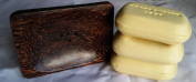 1 x Nice Modern Design crafted soap Dish Made From Coconut Wood - Simple Raised Square With Drain & (3) Cocoa Butter Soap Bars 110g Made From Natural Ghana's Finest Cocoa Excellent for People With Dry or Sensitive Skin
