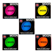 Moon Glow - Neon UV Hair Chalk 3.5g Set of 5 colours - Glows brightly under UV Lighting!