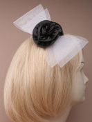 Statement net bow (17cm) with large satin rosette comb fascinator