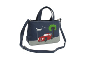 Mala Leather BEAU Collection Leather Grab Bag - Detachable Shoulder Strap 798_89 Navy