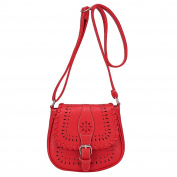 Women's Vintage Shoulder Bag Faux Leather Hollow Pattern Crossbody Bags Tote Satchel Red