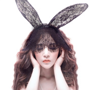Sexy Bunny Rabbit Ears Lace Mask Veil Headband Hairband Hair Accessory for Costume Masquerade Nightclubs Halloween Christmas