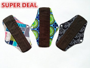 3PCS 25cm Regular Reusable Washable Charcoal Bamboo Cloth Mama Menstrual Sanitary Pad
