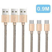 [3-Pack/0.9m]OTISA Micro USB Cable Nylon Braided Android Charging Cable High Speed USB for Android Smartphones for for for for for for for for for Samsung , HTC, Motorola, LG, Sony, Google and More