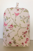 TRAILING BIRDS BUTTERFLY PINK GREEN TAUPE PRINT CAFETIÈRE COSY