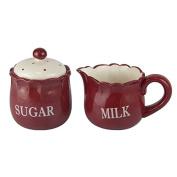 Better & Best 2891901 - Ceramic Sugar Bowl and Milk Jug, Red