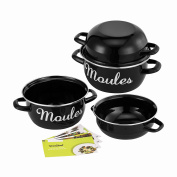 VonShef Set of Two 18cm Mediterranean Mussels Pot / Pan with Deep Lid - Free 2 Year Warranty
